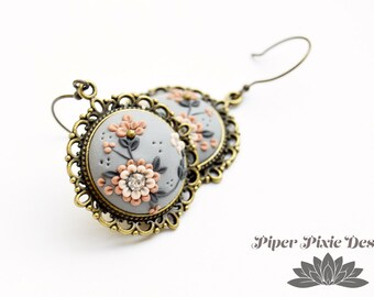 Boho Jewelry, Boho Earrings, Polymer Clay Jewelry, Handmade Earrings, Clay Applique, Bohemian Earrings, Gray Wedding Earrings, bridesmaid