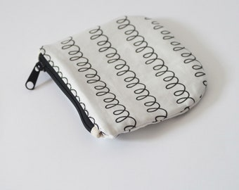 Small printed canvas zippered pouch