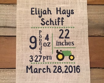 Embroidered Subway Art Birth Announcement Wall Hanger/Framer baby gift baby decor 8x10 size-SSD-5