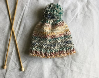 Knit Baby Hat / Chunky Knit Baby Hat / Hand Knitted Baby Beanie / Baby Beanie With Pom Pom / Multi-Colored Baby Beanie /  Knit Baby Hat
