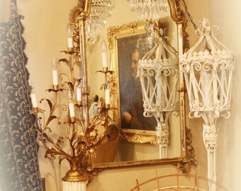 Xlrg Italian Tole Table Lamp Girandole Candelabra Antique