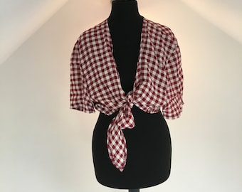 Women's vintage dark red gingham blouse