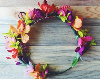 Lush Tropical Flower Crown, Boho Floral Crown, Flower Girl Crown, Boho Wedding, Flower Hair Accessory, Crown Photo Prop, Quinceanera Crown