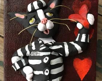 Bold Original Art - Cat Painting- Jailbird Tuxedo Cat - OOAK Cat Art - Original Painting - Polymer Clay on Canvas - Gift for Cat Lover