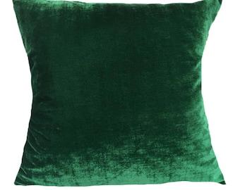 Dark green pillow cover. Jungle green  velvet pillow. luxury  cover. festive season throw pillow. 20 inch custom  made.