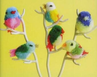 Kawaii Colorful Pom pom Pattern - Japanese Craft Book - Pom Pom Balls,  PomPom DIY Ornament,  Necklace, Pom Pom Animal Easy Tutorial - B1337