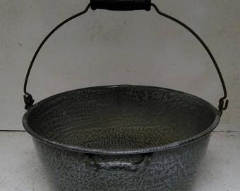 Gray graniteware kettle