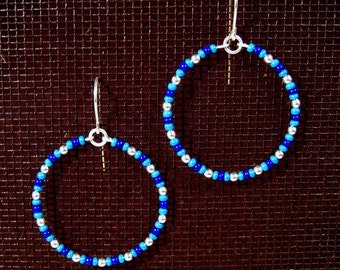 Sterling Silver Seed Bead Blues Hoops
