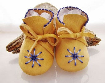 Native American Beaded Baby Moccasins and Soft Soled Shoes made of soft deer hide leather