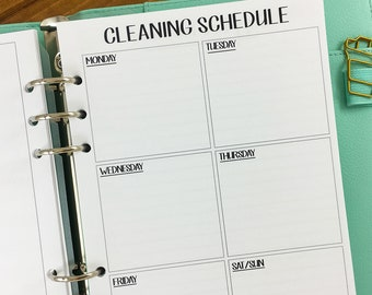 A6 Cleaning Schedule printed planner insert - supplies needed - clean house - chores - weekly maintenance