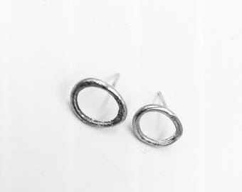 Sterling silver oval post earrings. Lisa Colby Metalsmith