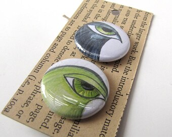 Pin Back Buttons - Big Eyed Birds - Set of 5 - 1 inch