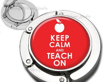 Keep Calm and Teach On With Apple in Red Purse Hook Compact Mirror Foldable Bag Hanger