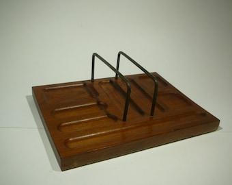 Mid Century, Valet, Mens, Wood, 1960s. Desk organizer