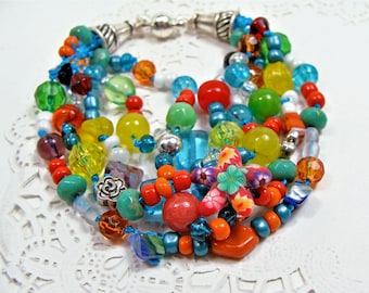 BOHO Multi-Strand Beaded & Knotted Bracelet in Orange, Turquoise, Reds and More