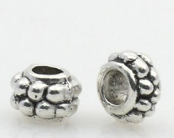 Antique silver metal spacer beads