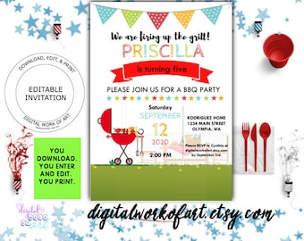 Bbq party invitation etsy barbecue party invitation template diy bbq party invitation editable pdf template party printable stopboris Image collections