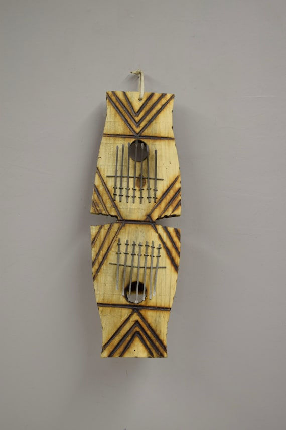 """Piano African Zulu South Africa Double Wood Gourd Thumb Piano Handmade Etched Gourd """"Kalimba"""" Musical Piano Tines Thumbs Fun Tunes Unique"""