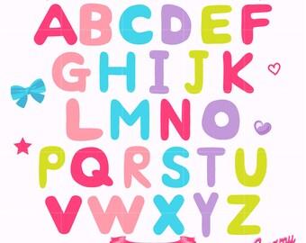 Alphabet Digital Vector Clip art / Alphabets Digital Clipart Design Illustration/ Scrapbooking, Letters, Uppercase, ABC, Preschool