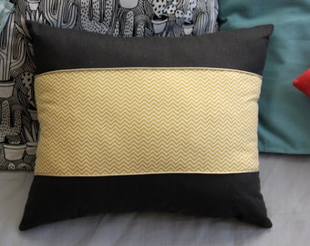 Geometric pillow yellow and white / gray pillow / cushion