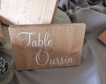 Table de  mariage personnalisable. Petit panneau de table. Table de mariage personnalisée.
