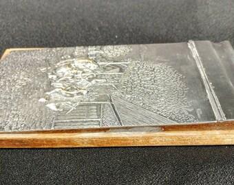 Vintage Raised Relief Embossed Silverplate Notebook Note Pad Holder J T H S Denmark Jorgen Th Steffesen 18762