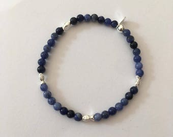 Sterling Silver bracelet with Sodalite beads and Fish beads