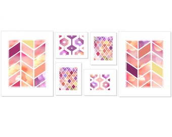 Colorful Geometric Art Set of 6 Prints - Gallery Wall Arrangement