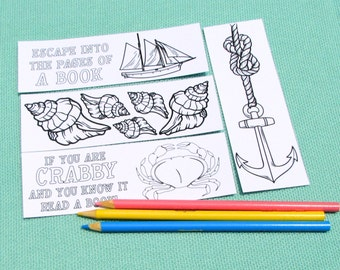 Nautical Adult Coloring Bookmarks - Beach Themed - Crab Sailboat Seashells Anchor - Summer Activities - Adult Party Favors - Unique Gifts