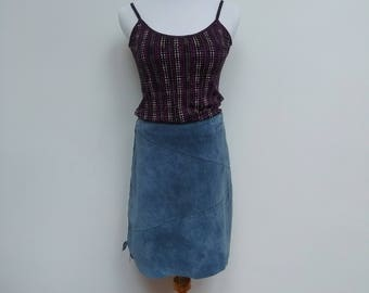 Blue Suede Leather Skirt - A-Line 00s - M 10 12 - VINTAGE