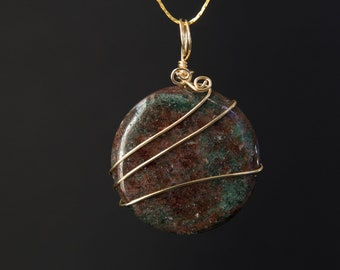 Garnet Pendant, Red Green Garnet, Round Pendant, Goldplate Wire, Reiki Pendant, Energy Stones, Energy Pendant, Energy Necklace, Boho Jewelry