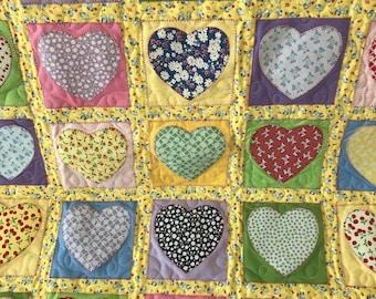 Pastel Vintage Print Heart Quilt