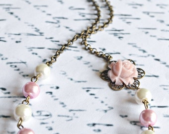 Pink Pearl Necklace, Flower Girl Necklace, Bridesmaids Necklace, Bridesmaids Gift, Christmas Gifts, Shabby Chic Necklace, Childrens Jewelry