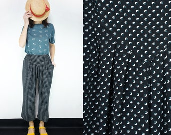 Handmade Vintage Viscose cropped mid-calf length, wide leg pant Small , Medium, Large [Athur Pants/geometric black]