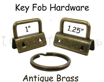 5 Key Fob Hardware with Key Rings Sets - 1 Inch or 1.25 Inch Antique Brass - Plus Instructions - SEE COUPON