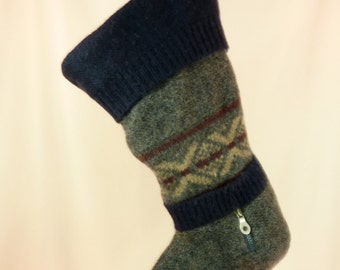 Christmas Stocking//Felt// Felted Wool//Knit//Lands End//Navy//Grey//Patterns//Recycled 633