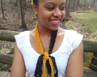 Steelers skinny scarf, skinny scarf, black and gold scarf, steelers gifts, yellow and black skinny scarf, scarf necklace, knit skinny scarf