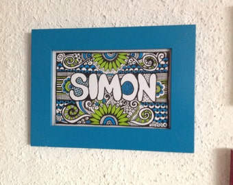 Colorful name images with matching frame-also in black and white-please specify your desired name 4.80 euro