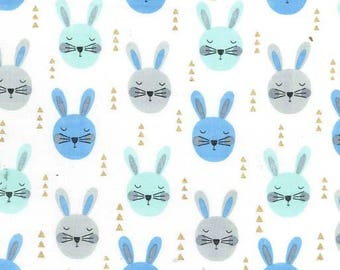 QUILTING COTTON Michael Miller Ruminating Rabbits in Aqua Quilting Cotton. Sold by the 1/2 yard