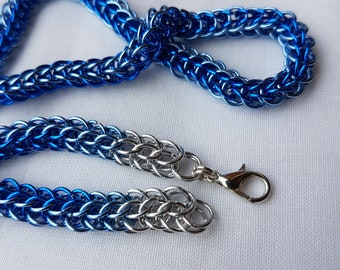 Two tone Blue Chainmaille necklace, full persian weave