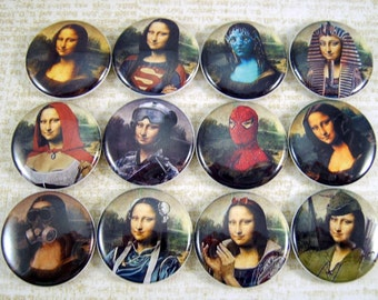 """1"""" Inch Cosplay Mona Lisa Flatback Buttons, Pins, Magnets 12 Ct."""