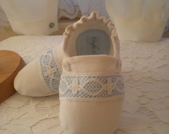 White Irish linen Baby Boy Christening Shoes, Boy Baptism Shoes. Boy Booties. Linen Boy shoes