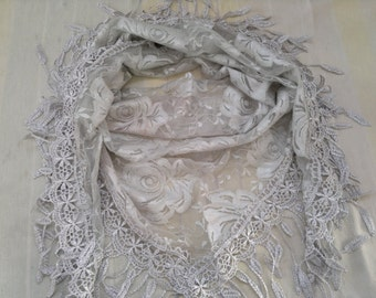 Triangle Scarf Lace Scarf Floral Scarf with Fringe Fashion Scarf