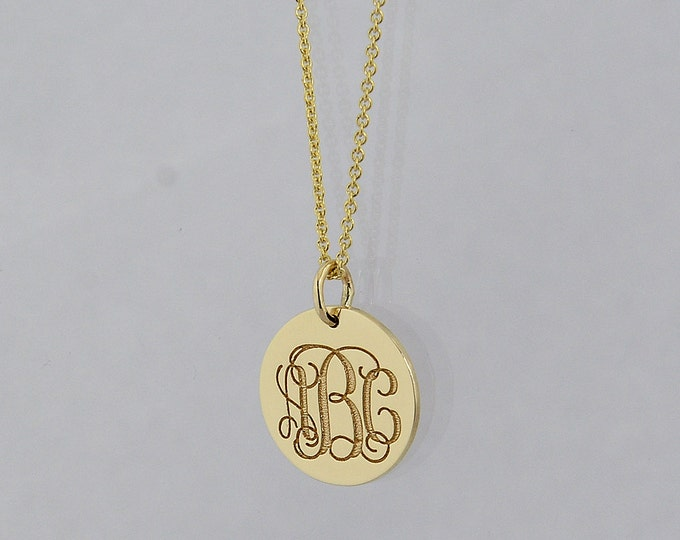 Soulmonogram featured listing image 3 initial monogram tiny round disc charm pendant necklace deep laser engrave mozeypictures Image collections