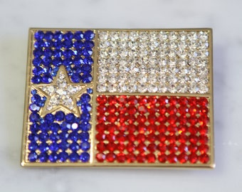 Texas rhinestone jewelry brooch
