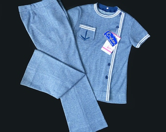 70's Sailor Top And Trousers Jersey Set French Stock 5-6, 8-10 Y