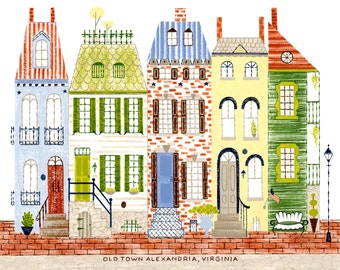 """Old Town Alexandria, Virginia, northern virginia print, alexandria, old town, colonial architecture, 8.5""""x11"""" and 11""""x14"""", art print"""