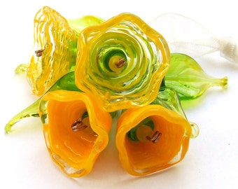 Lampwork Glass Flower Beads for Jewelry Making, Yellow flower caps with Green - Yellow leaves, Yellow Bouquet , Set of 10, Made to Order