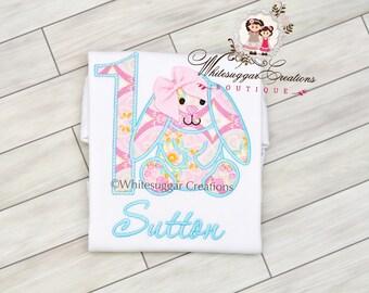 Girl Birthday Shirt - Vintage Easter Bunny Shirt - Baby Girl 1st Birthday - Easter Baby Kids Easter Clothes