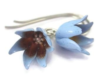 Blue Flower Earrings on Sterling Silver Wires, Tulip Earrings, Organic Jewelry, Dangle Earrings Turquoise